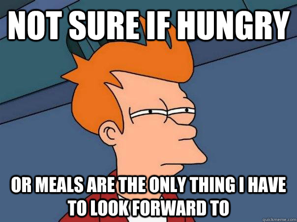 Not sure if hungry Or meals are the only thing I have to look forward to - Not sure if hungry Or meals are the only thing I have to look forward to  Futurama Fry