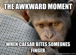 the awkward moment when caesar bites someones finger