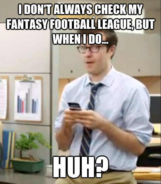 I don't always check my fantasy football league, but when I do... Huh?  Huh guy