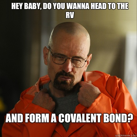 Hey baby, do you wanna head to the RV and form a covalent bond?  Sexy Walter White
