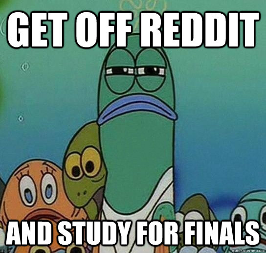 Get off reddit and study for finals  Serious fish SpongeBob
