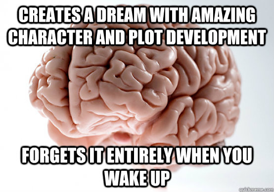 CREATES A DREAM WITH AMAZING CHARACTER AND PLOT DEVELOPMENT Forgets it entirely when you wake up