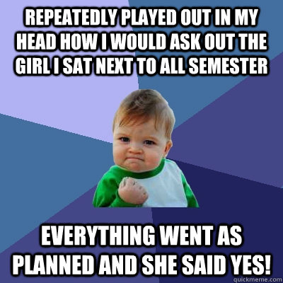 Repeatedly played out in my head how I would ask out the girl I sat next to all semester Everything went as planned and she said yes! - Repeatedly played out in my head how I would ask out the girl I sat next to all semester Everything went as planned and she said yes!  Success Kid
