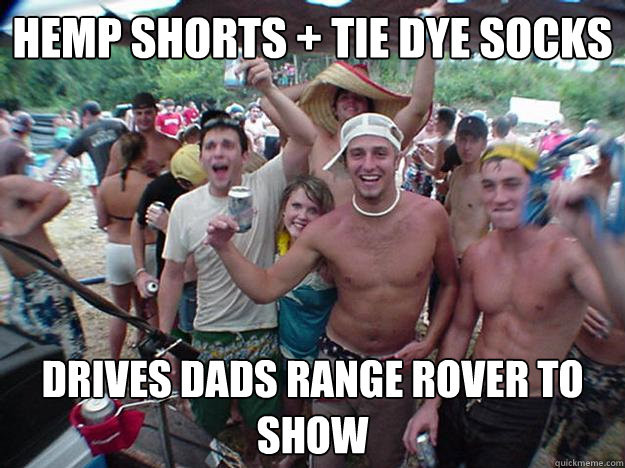 hemp shorts + tie dye socks drives dads range rover to show