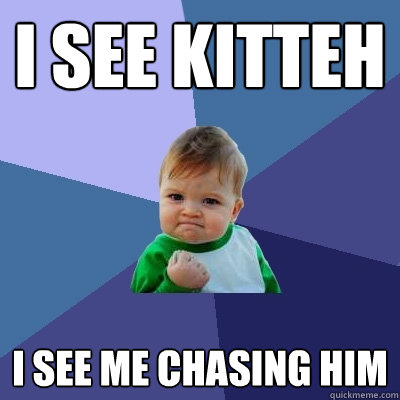 I see kitteh i see me chasing him Caption 3 goes here - Success Kid