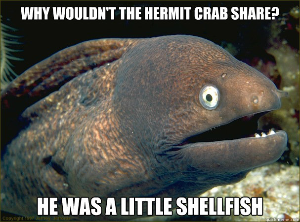 Why wouldn't the hermit crab share? He was a little shellfish - Why wouldn't the hermit crab share? He was a little shellfish  Bad Joke Eel