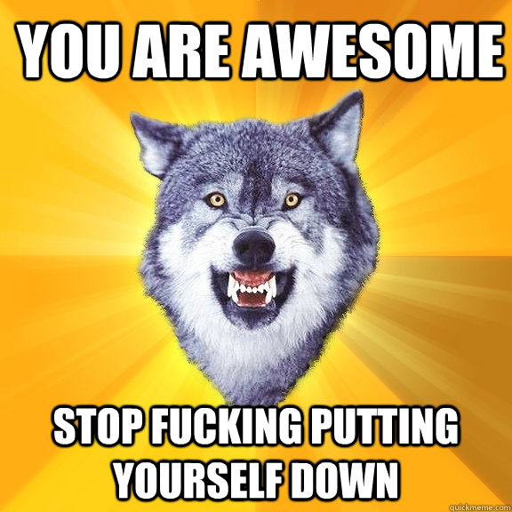 You are awesome stop fucking putting yourself down - You are awesome stop fucking putting yourself down  Courage Wolf