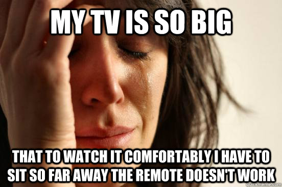 MY TV IS SO BIG That to watch it comfortably i have to sit so far away the remote doesn't work - MY TV IS SO BIG That to watch it comfortably i have to sit so far away the remote doesn't work  First World Problems
