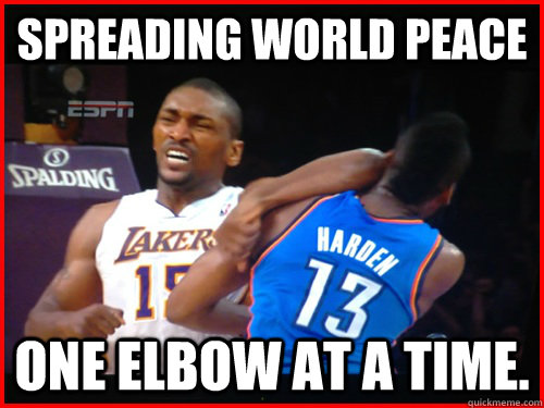 Spreading world peace one elbow at a time.