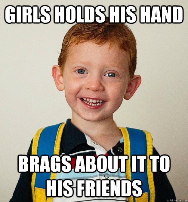 Girls holds his hand brags about it to his friends  Pre-School Freshman