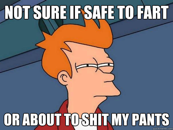 Not sure if safe to fart or about to shit my pants - Not sure if safe to fart or about to shit my pants  Futurama Fry
