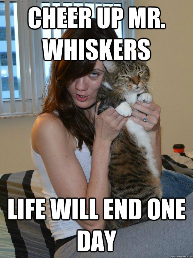 Cheer Up Mr. Whiskers Life will end one day - Cheer Up Mr. Whiskers Life will end one day  Crummy Christines Crappy Cat