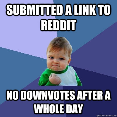 Submitted a link to reddit No downvotes after a whole day - Submitted a link to reddit No downvotes after a whole day  Success Kid
