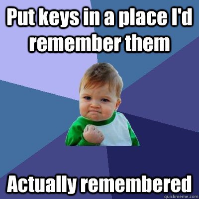 Put keys in a place I'd remember them Actually remembered - Put keys in a place I'd remember them Actually remembered  Success Kid