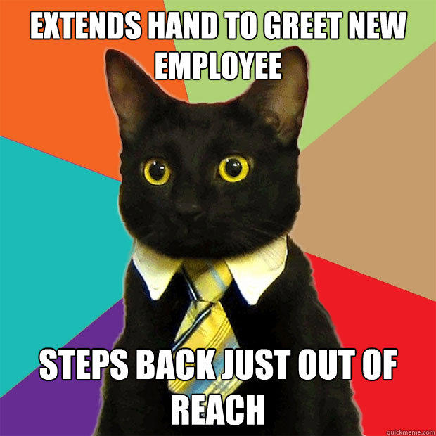 extends hand to greet new employee steps back just out of reach - extends hand to greet new employee steps back just out of reach  Business Cat