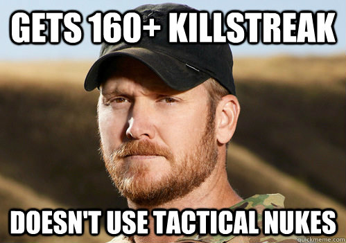 Gets 160+ killstreak Doesn't use tactical nukes - Gets 160+ killstreak Doesn't use tactical nukes  Misc
