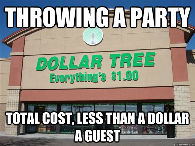 throwing a party total cost, less than a dollar a guest