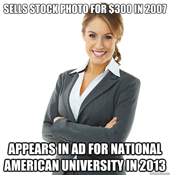 sells stock photo for $300 in 2007 Appears in ad for National American University in 2013