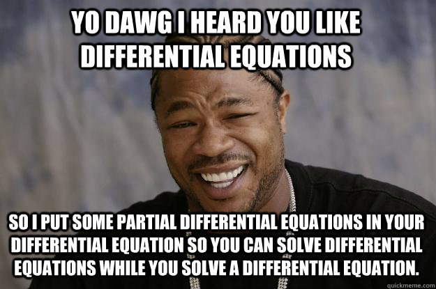 Yo Dawg i heard you like differential equations so I put some partial differential equations in your differential equation so you can solve differential equations while you solve a differential equation. - Yo Dawg i heard you like differential equations so I put some partial differential equations in your differential equation so you can solve differential equations while you solve a differential equation.  Xzibit meme