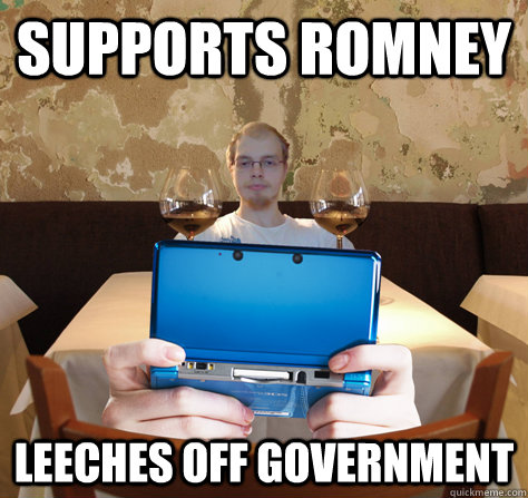 Supports Romney Leeches off government  icoyar