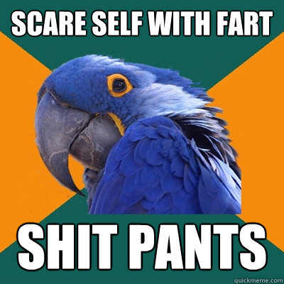 Scare self with fart shit pants - Scare self with fart shit pants  Paranoid Parrot