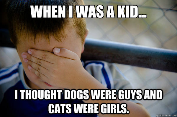 When I was a kid... I thought dogs were guys and cats were girls. - When I was a kid... I thought dogs were guys and cats were girls.  Misc