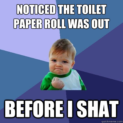 noticed the toilet paper roll was out before i shat - noticed the toilet paper roll was out before i shat  Success Kid