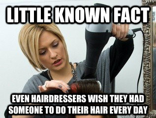 Little known fact Even hairdressers wish they had someone to do their hair every day  Scumbag hair stylist