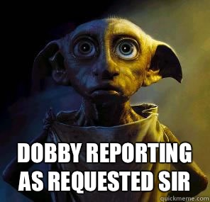 Dobby reporting as requested sir  Disgruntled House-elf Dobby