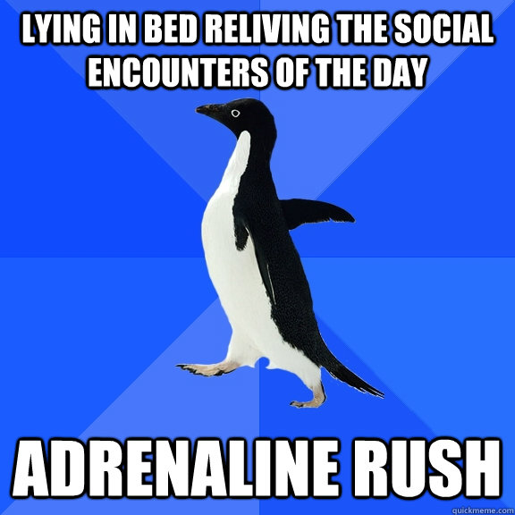 Lying in bed reliving the social encounters of the day Adrenaline rush - Lying in bed reliving the social encounters of the day Adrenaline rush  Socially Awkward Penguin