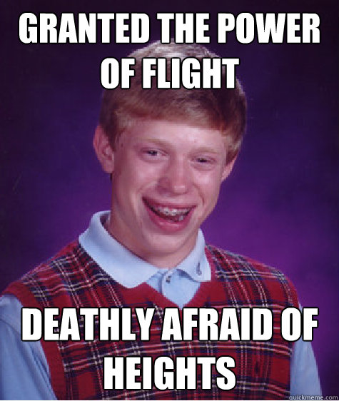 Granted the power of flight Deathly afraid of heights  - Granted the power of flight Deathly afraid of heights   Bad Luck Brian