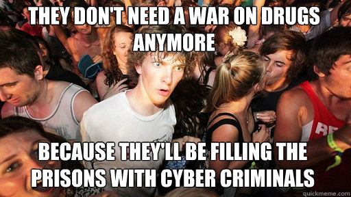 They don't need a war on drugs anymore  Because they'll be filling the prisons with cyber criminals - They don't need a war on drugs anymore  Because they'll be filling the prisons with cyber criminals  Sudden Clarity Clarence
