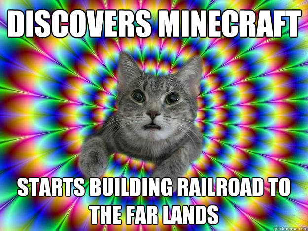 discovers minecraft starts building railroad to the far lands - discovers minecraft starts building railroad to the far lands  Addictive personality cat