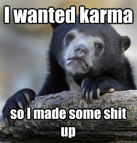 I wanted karma so I made some shit up - I wanted karma so I made some shit up  Confession Bear