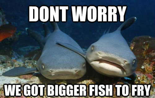 dont worry we got bigger fish to fry - dont worry we got bigger fish to fry  Compassionate Shark Friend