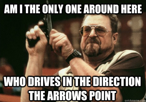 Am I the only one around here who drives in the direction the arrows point - Am I the only one around here who drives in the direction the arrows point  Am I the only one