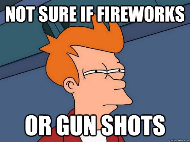Not sure if fireworks  Or gun shots Caption 3 goes here - Not sure if fireworks  Or gun shots Caption 3 goes here  Futurama Fry