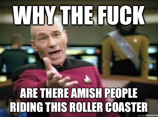 Why the fuck Are there Amish people riding this roller coaster  - Why the fuck Are there Amish people riding this roller coaster   Annoyed Picard HD