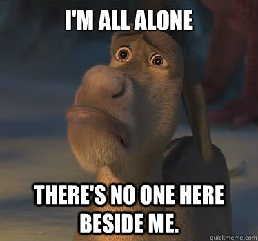 I'm all alone There's no one here beside me.  Donkey