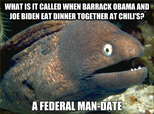 what is it called when Barrack obama and Joe biden eat dinner together at chili's? a federal man-date  Bad Joke Eel