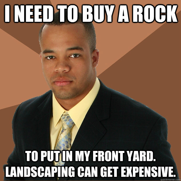 I need to buy a rock to put in my front yard. landscaping can get expensive. - I need to buy a rock to put in my front yard. landscaping can get expensive.  Successful Black Man