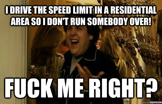 I drive the speed limit in a residential area so i don't run somebody over! Fuck me right? - I drive the speed limit in a residential area so i don't run somebody over! Fuck me right?  Jonah Hill - Fuck me right