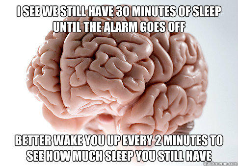 I see we still have 30 minutes of sleep until the alarm goes off Better wake you up every 2 minutes to see how much sleep you still have  Scumbag Brain