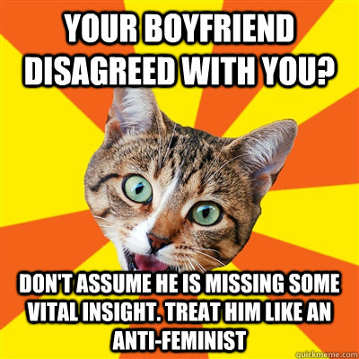 your boyfriend disagreed with you? Don't assume he is missing some vital insight. Treat him like an anti-feminist - your boyfriend disagreed with you? Don't assume he is missing some vital insight. Treat him like an anti-feminist  Bad Advice Cat