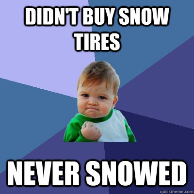 didn't buy snow tires never snowed  - didn't buy snow tires never snowed   Success Kid