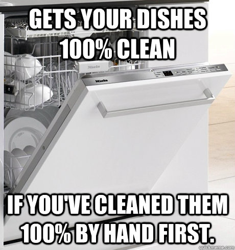 Gets your dishes 100% clean if you've cleaned them 100% by hand first.