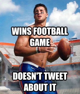 WINS FOOTBALL GAME DOESN'T TWEET ABOUT IT
