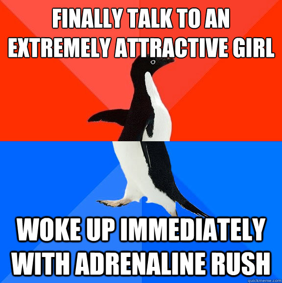 Finally talk to an extremely attractive girl Woke up immediately with adrenaline rush - Finally talk to an extremely attractive girl Woke up immediately with adrenaline rush  Socially Awesome Awkward Penguin