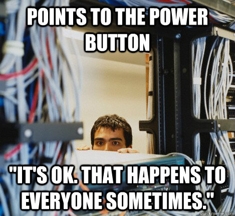 POINTS TO THE POWER BUTTON