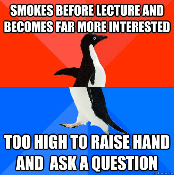 smokes before lecture and becomes far more interested too high to raise hand and  ask a question - smokes before lecture and becomes far more interested too high to raise hand and  ask a question  Socially Awesome Awkward Penguin